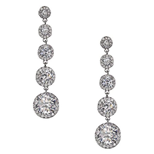 Samky Jewelry Chandelier Dangle Multi Tier Round CZ Crystal Earrings with Gift (Tiers Round Chandelier)