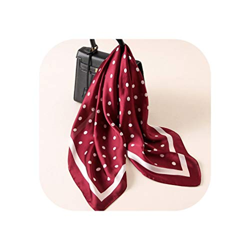 Women Striped Square Scarf Imitated Silk Scarves Leopard Stewardess Hostess Ladies 70Cm,Striped Dot Wine