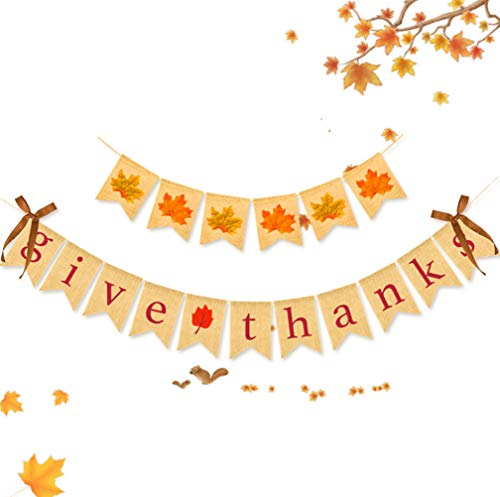FITARTS Thanksgiving Decorations Banner Fall Maple Leaf Burlap Garland Bunting Happy give Thanks Day Party Home Decoration
