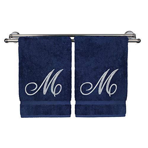 Monogrammed Washcloth Towel, Personalized Gift, 13x13 Inches - Set of 2 - Silver Script Embroidered Towel - Extra Absorbent 100% Turkish Cotton - Soft Terry Finish - Initial M - Terry Personalized