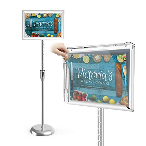 Sign Holder Stand,Firstand Adjustable Pedestal Poster Stand(11X17) with Telescoping Post,Aluminum Snap Open Frame for Pedestal Sign Stand with Vertical and Horizontal View Sign ()