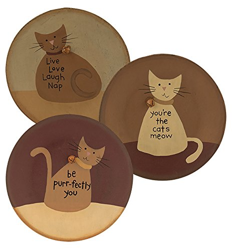 "CWI Gifts G32985A 6.25"" x 2"" Cat's Meow Plates (Set of 3)"