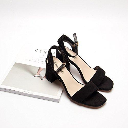 Moda Mujer verano sandalias confortables tacones altos,34 amarillo Black