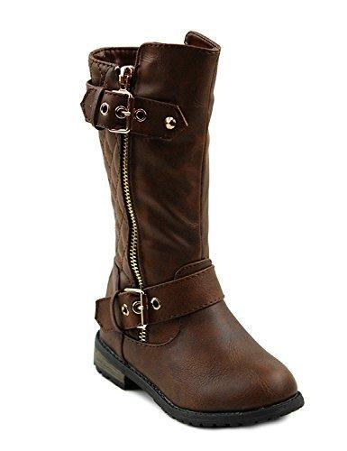 Brown Toddler Footwear (CC Mango-21k Little Girls New Knee High Flat Riding Boots Shoes (9M US Toddler, Brown))