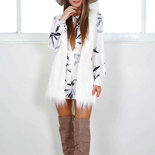 Blouson Couleur Taille Elégante Manteau Unie Gilet Fourrure Warm Mode Hiver Vest Manches De Sans Festive Clothing Automne Outerwear Blanc Femme Art Grande xHPTBq