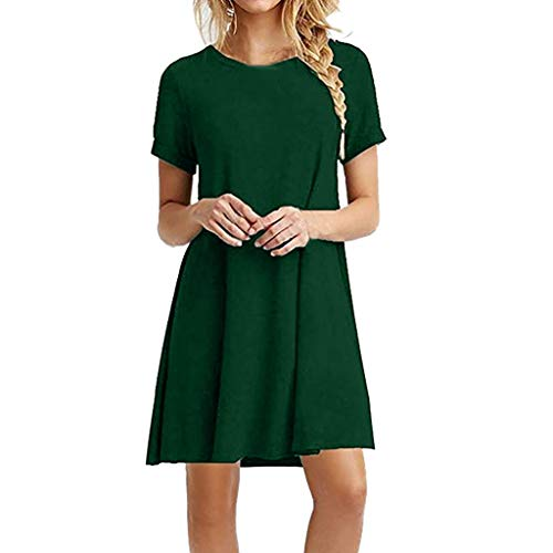 ♡QueenBB♡ Women's Swing Loose T-Shirt Fit Comfy Casual Flowy Cute Swing Tunic Dress Green