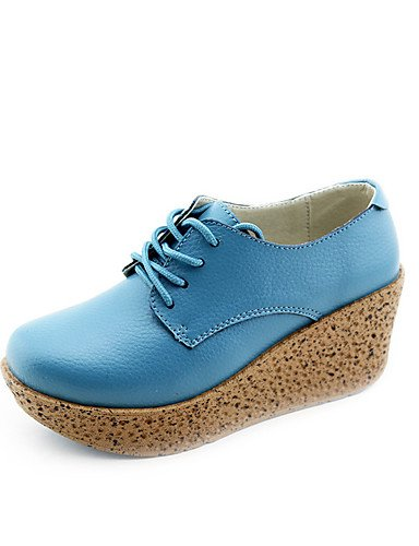 GGX/ Damen-High Heels-Outddor-PU-Flacher Absatz-Komfort-Schwarz / Blau / Weiß / Orange blue-us8.5 / eu39 / uk6.5 / cn40