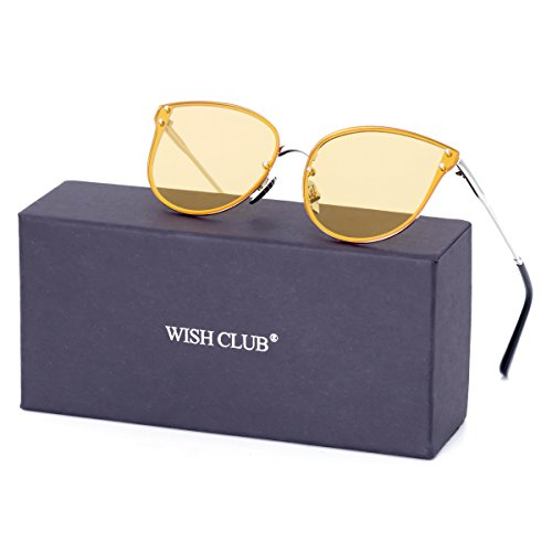 WISH CLUB Women Yellow Oversized Cat Eye Sunglasses Designer Rimless Flat Mirrored Lenses - Personalized Cheap Sunglasses