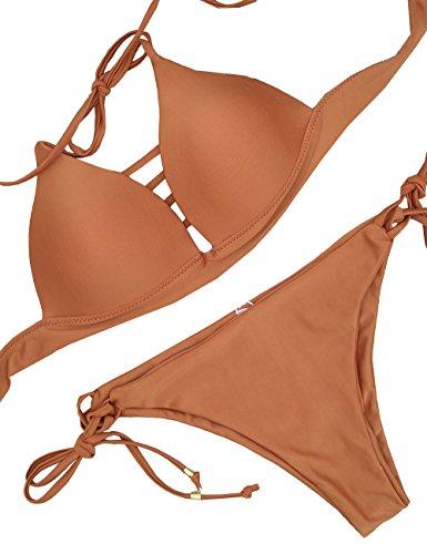 Bas Swimwear Bikini Plage Pièces De Pour Acvip Maillot Up Haute Femme Deux Orange Push Bain w4F8XFYxqg