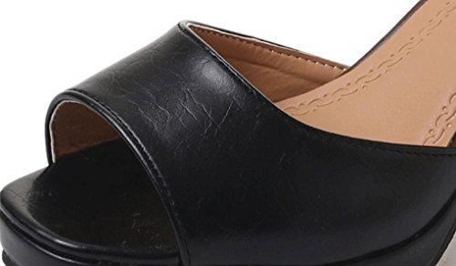 LBLX Sandalias, Sandalias de Boca de Pescado Versión Coreana de Verano Zapatos de Mujer de Tacón Grueso de Roma Zapatos de Tacón Alto Sandalias de Moda Negro