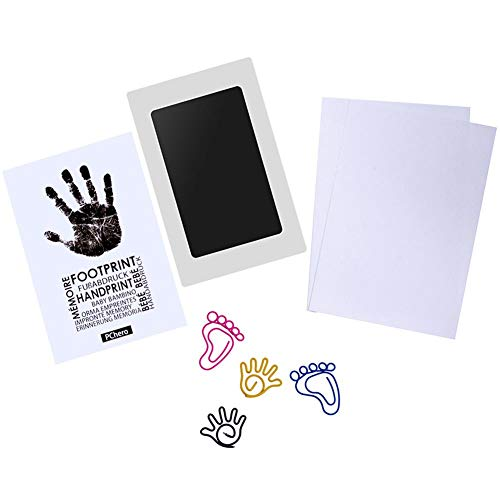 PChero Newborn Baby Handprint and Footprint Ink Pad Kit, Non-Toxic and Clean-Touch (Medium Size, Black)