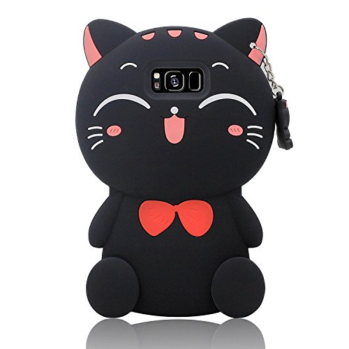 Samsung Galaxy Note 8 Case 3D Cartoon Cute Design Animal Black Red Silicone Soft Phone Case(Black-Samsung Galaxy Note 8 - 3 Case Note 3d Cartoon