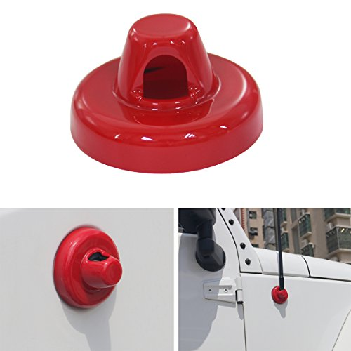 MOEBULB Radio Antenna Base Cover Aerial Trim for 2007-2017 Jeep Wrangler JK & Unlimited (Red)