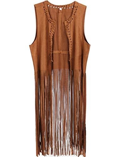 GRACIN Womens Hippie Costume Vest, Soft Faux Suede 60s 70s Fringed Cardigan (Small, Brown) -