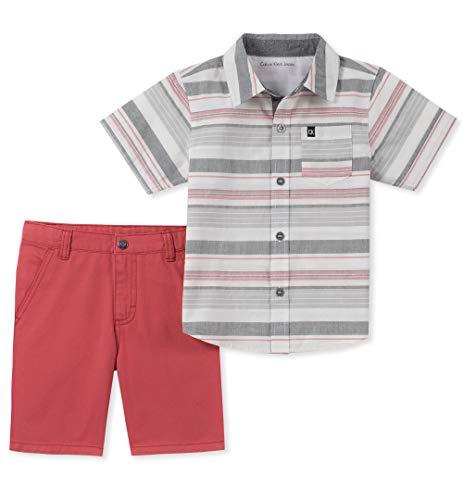 Calvin Klein Boys' Toddler 2 Pieces Shirt Shorts Set, Multi, 4T]()