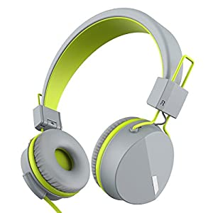 Kanen I39 Headphones On ear Foldable Noise Isolating Headsets with Mic and Remote for Kids Adults (Green)