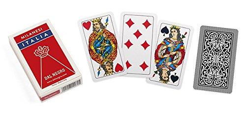 - Dal Negro Milanesi Italia 010085 Italian Regional Playing Cards, Red Case - Deck of 40 Cards [ Italian Import ]