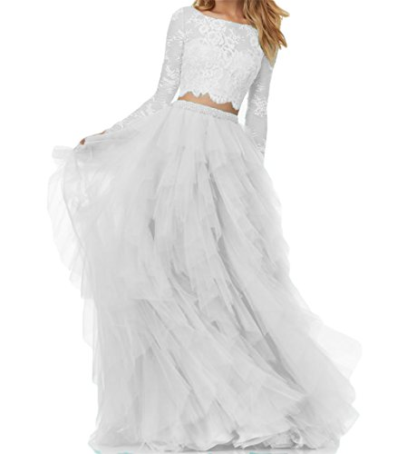 BanZhang Women's Lace Prom Dresses Long Sleeve Homecoming Dresses A Line Tulle B280 White 14 (Dresses For Weddings For Teens)