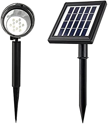 MicroSolar - 12 LED - Lithium Battery - Separate Solar Panel with 16 foot Wire - Solar Spotlight --- Automatically Activates from Dusk to Dawn under Good Sunshine
