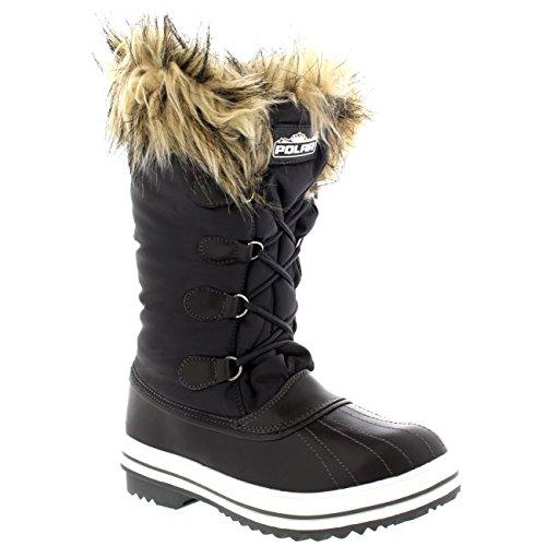 Polar Products Damen Nylon warme Ente Regen Schnee im Freien hohe Winter Regen Stiefel Charcole
