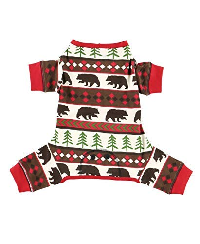 Red Bear Fair Isle Dog Flapjack Onsie Sweater by LazyOne | Adult Kid Infant Dog Family Matching Pajamas (X-Large)