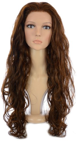 Long Brunette Copper Curly Glamorous Lace Front Wig | In the style of Demi Lovato and Guilana - Lovato Style Demi