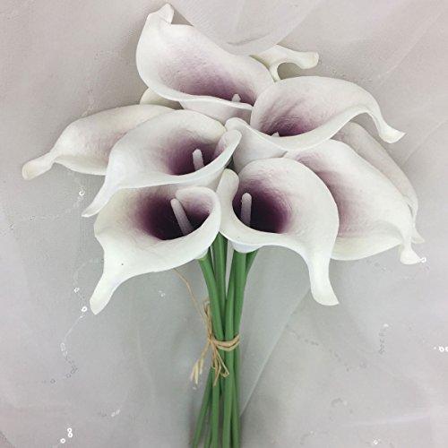 Artificial Calla Lily 10 Stem Flower Bouquets (Burgundy Center) ()