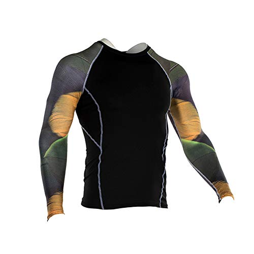 Men's Sports Compression Apparel Base Layers Workout Long Sleeve Shirt Tattoo Running Motion Training Sport Fitness