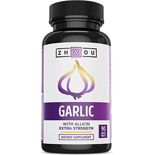 Garlic Pills with Allicin for Intense Immunity Support & Heart Health - Enteric Coated Tablets - Odorless 400mg Supplement - 90 Count