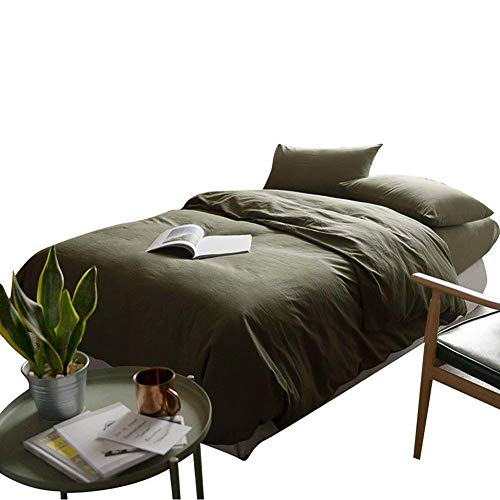 (mixinni Luxury 3 Pieces Duvet Cover Set Queen Dark Green 100% Natural Washed Cotton 1 Duvet Cover 2 Pillowcases Hotel Quality Ultra Soft with Zipper Ties for or Men, Women, Boys and Girls-Full/Queen)