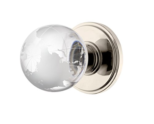Decor Living, AMG and Enchante Accessories Modern Globe Crystal Door Knobs, Frosted Glass Design, Passage Function for Hall and Closet, Atlas Collection, DK02L NKL,Polished Nickel