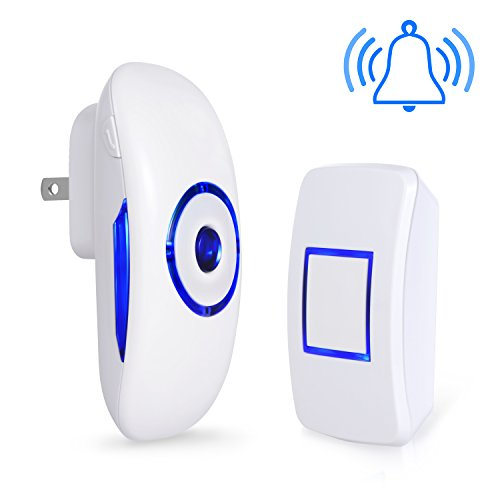 Adoric Life Wireless Doorbell Waterproof Door Bell Kit, 1000 Feet Operating, 36 Chimes, 4 Level Volume, LED Indicator, 1 Plug-In Receiver & 1 Push Button Transmitter