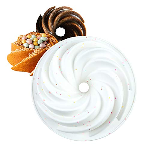 SHEbaking Confetti Bundt Pan, Silicone Baking Molds for Jelly, Mousse and Gelatin Cake Mould with Nonstick Surface Fluted Cake Pan