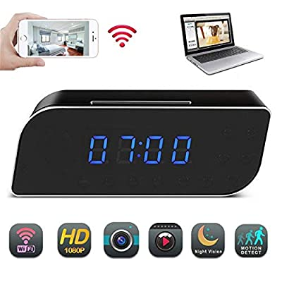 Spy Camera, Funcilit Clock Hidden Camera [ Updated Version 2018 ] WiFi HD 1080P Mini Alarm Desk spy Clock Camera for Home Security Nanny Cam Small Wireless, Black by Funcilit