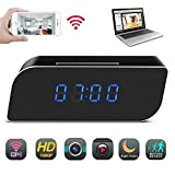 Cheap Spy Camera, Funcilit Clock Hidden Camera [ Updated Version 2018 ] WiFi HD 1080P Mini Alarm Desk spy Clock Camera for Home Security Nanny Cam Small Wireless, Black