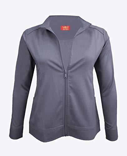 M&M Scrubs Women's Ultra Soft Front Zip Warm-Up Scrub Jacket (X-Small, - Jacket Zip Charcoal
