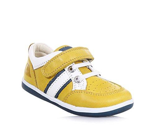 BOBUX - Chaussure I-Walk Racer jaune en cuir, made in New Zealand, avec fermeture en velcro, lacets élastiques, garçon, garçons