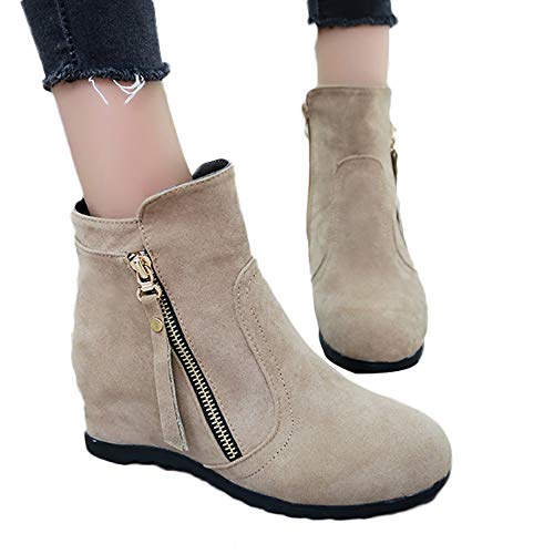 Clearance Womens Ankle Boots,Realdo Women Fashion Solid Increase High Boots Suede Round Head Shoe(US 5.5,Khaki)