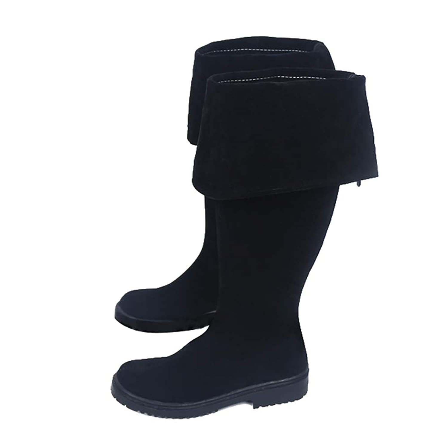 Womens Pull On Knee-High Black Custom Made Cosplay Pirate Boots