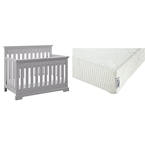 Thomasville Kids Willow 4-in-1 Convertible Crib - Pebble Gray with Graco Natural Organic Foam Crib and Toddler - Willow Natural Wood