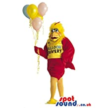 Chicken Plush SPOTSOUND LTD Mascot Costume Wearing T-Shirt With Text And Balloons