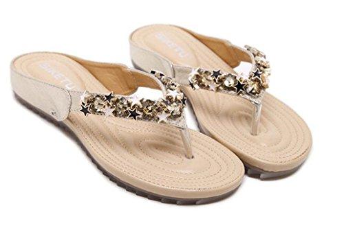 Bumud Kvinners Uformelle Rhinestone Thong Sandaler Flip Flop Sommer Tøffel Golden