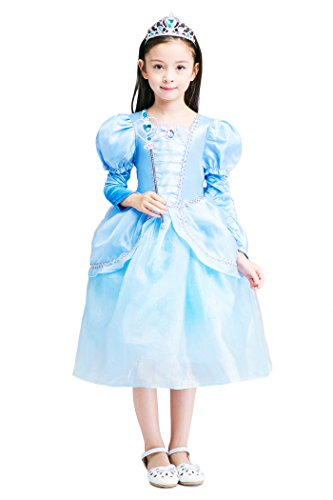 Anime Ninja Girl Costume (YMING Girls Blue Elegant Princess Cosplay Dress Girl Costume 8-9 Years)