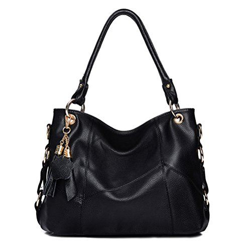 Vintga Genuine Leather Tote Bag Top Handle Satchel Handbag Tassel Shoulder Bag Large Purse Crossbody Bag for Women (Black) (Handle Leather Satchel Bag)
