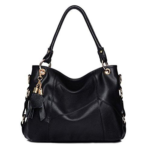 2a5031332537 Vintga Genuine Leather Top Handle Satchel Handbag Tote Tassel Shoulder Bag  Purse Crossbody Bag for Women