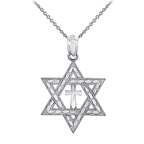 925 Sterling Silver Jewish Charm Star of David Cross Pendant Necklace, 16