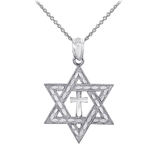 - 925 Sterling Silver Jewish Charm Star of David Cross Pendant Necklace, 16