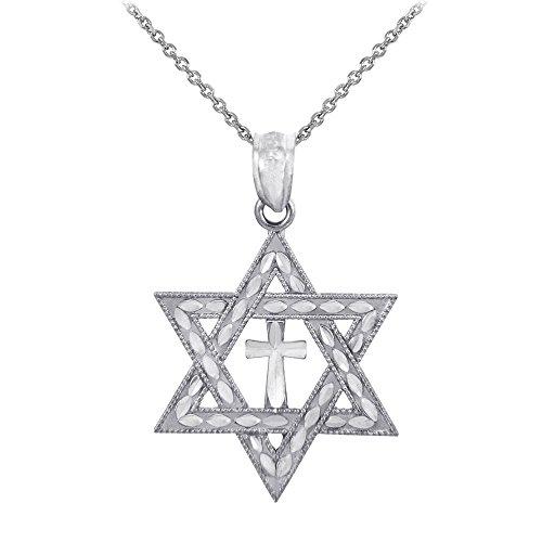 Star David Cross Necklace - 925 Sterling Silver Jewish Charm Star of David Cross Pendant Necklace, 16