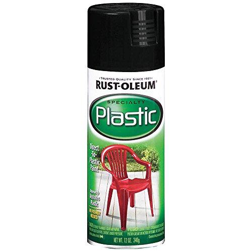 Rust-Oleum 211338 Paint For Plastic Spray, Black, 12-Ounce