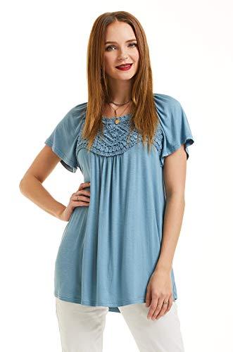 SONJA BETRO Women's Knit Crochet Lace Trim Raglan Bell Sleeve Tunic Top Small ...